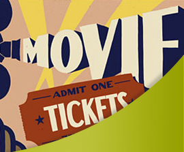Art deco illustration of a ticket stub, projector, search lights, and the word movie.