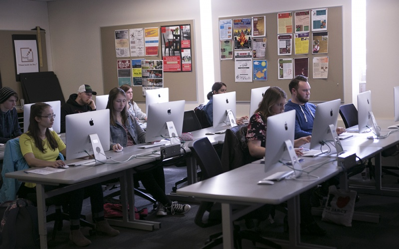 marketing and design students in class