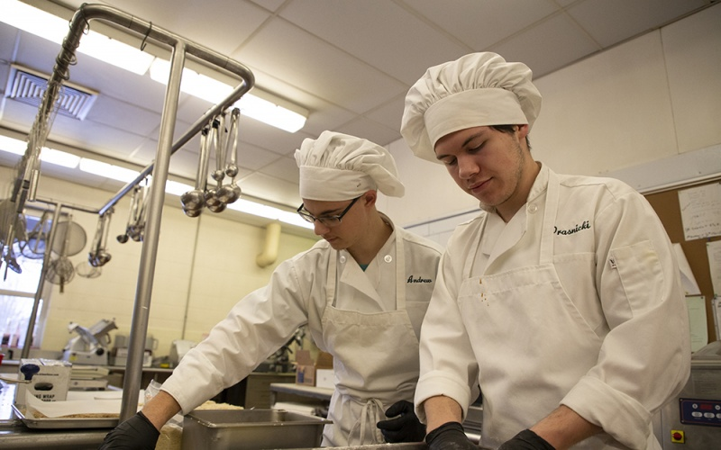 culinary students in the kitchen