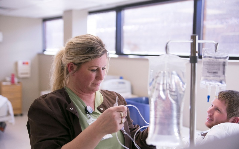 Nursing student with IV
