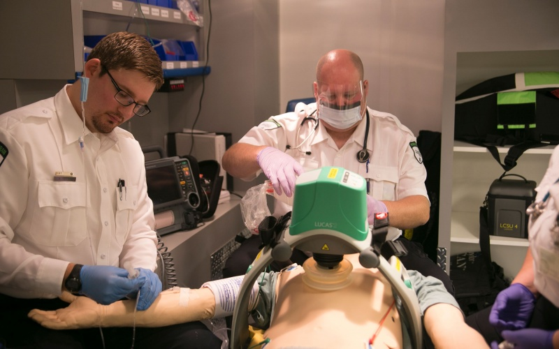 Paramedicine students in classroom in ambulance