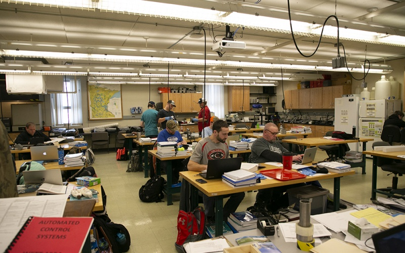 Student working in the classroom