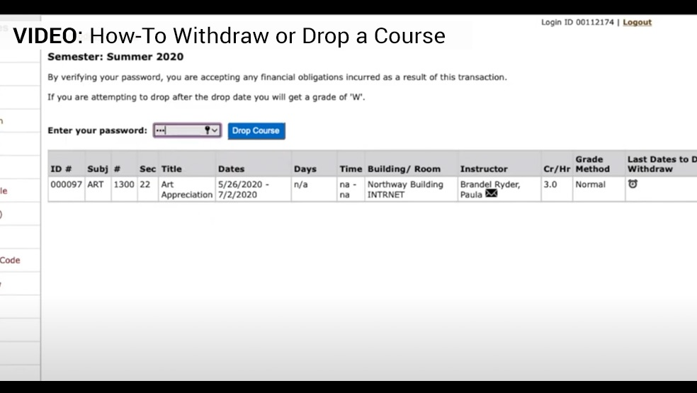 Withdraw or Drop video