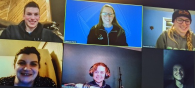 DECA students on Zoom screens