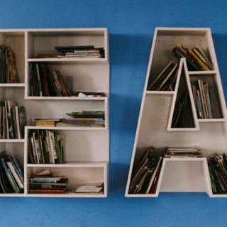 shelf made from letters to form READ