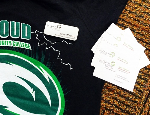 Black shirt with the SCTCC logo, along with an SCTCC faculty name tag and business cards