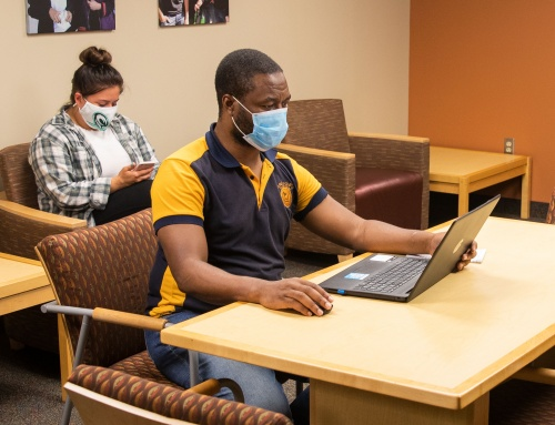 Masked students in study area