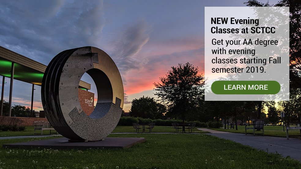 Evening classes. Image of campus in the evening.